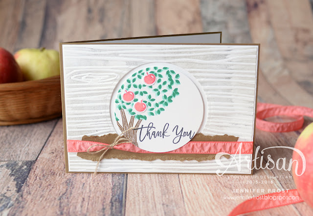 Thoughtful Branches, Exclusive product bundle, Stampin' Up!, Artisan Design Team, Woodgrain Embossing Folder, Thank you card, Papercraft by Jennifer Frost