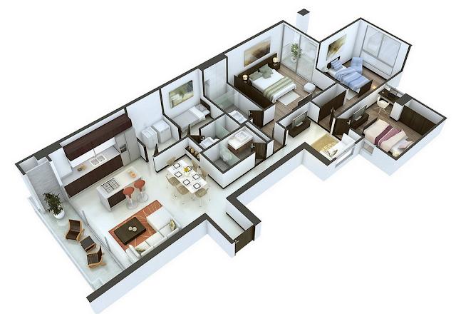 desain rumah 6x12 3 kamar