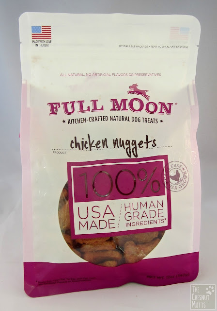 a bag of USA made Human grade chicken nugget dog treats