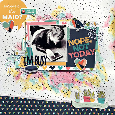 I'm Busy scrapbook page tracee provis simple stories domestic bliss