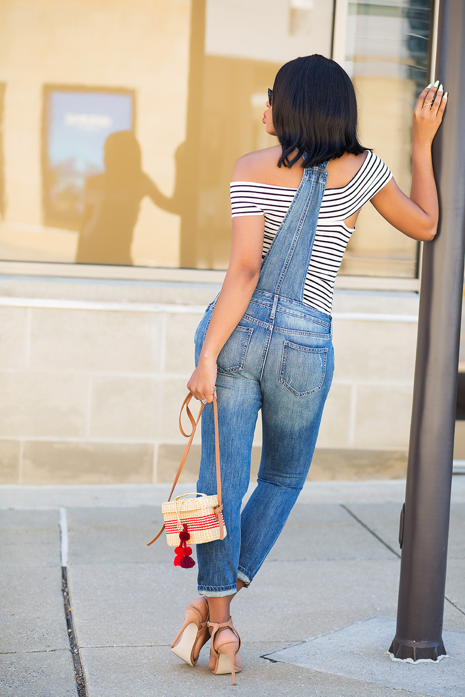 denim overall and off shoulder top, Nannacay straw bag, www.jadore-fashion.com