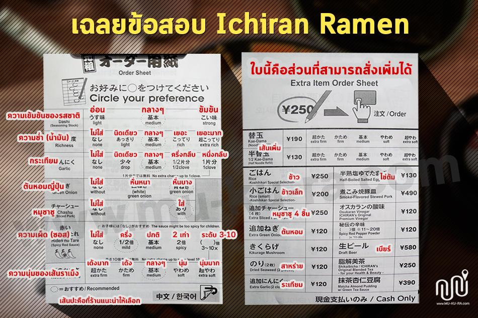 เฉลยข้อสอบ ราเม็ง Ichiran Ramen