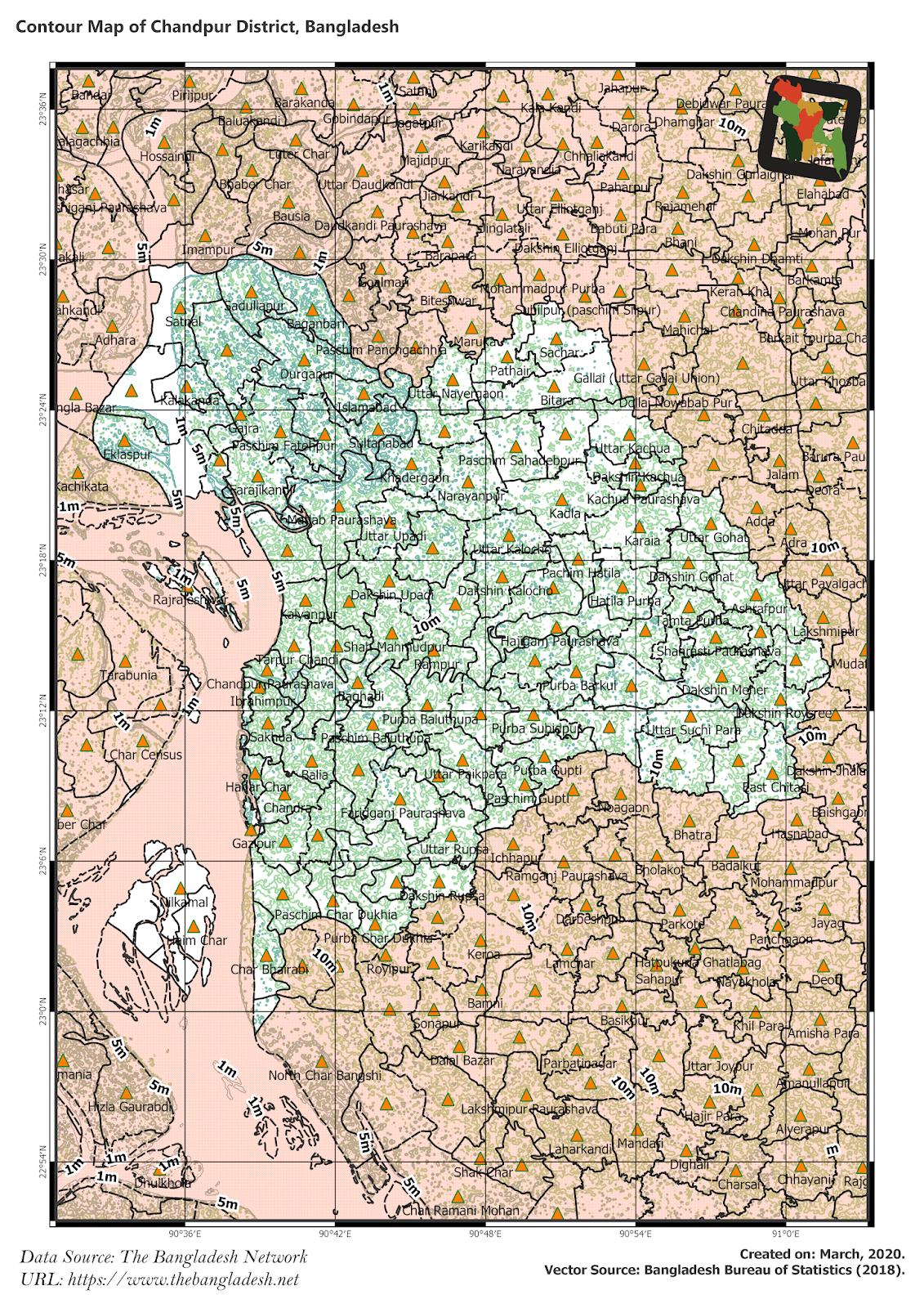Elevation Map of Chandpur District of Bangladesh