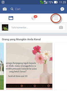 Menu Utama facebook for mobile untuk pengaturan video