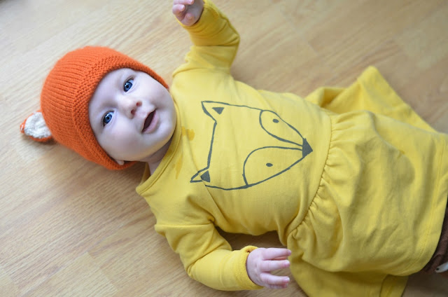 dapperbaby, iglo and indi, baby girl fox, yellow fox dress
