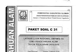 Soal TPM Kabupaten Sleman 2016 (3-4 Maret) IPA