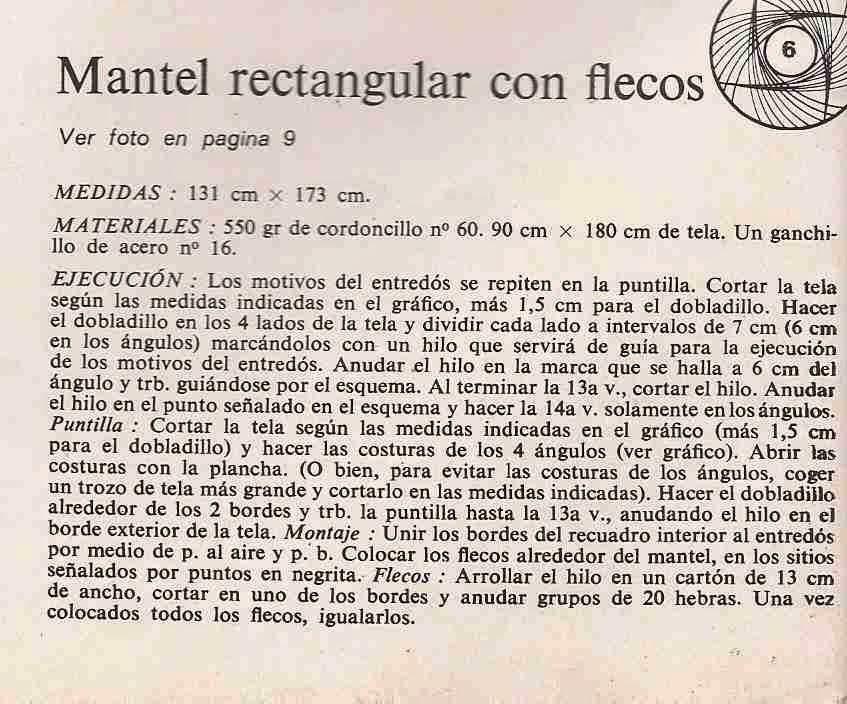 Instrucciones de Mantel