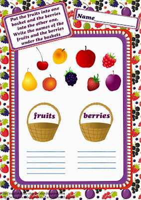 fruits together with berries vocabulary worksheet for children