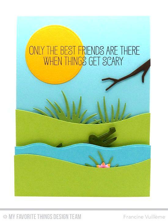 Alligator Friend Card by Francine Vuillème featuring Jungle Friends Card Kit #mftstamps