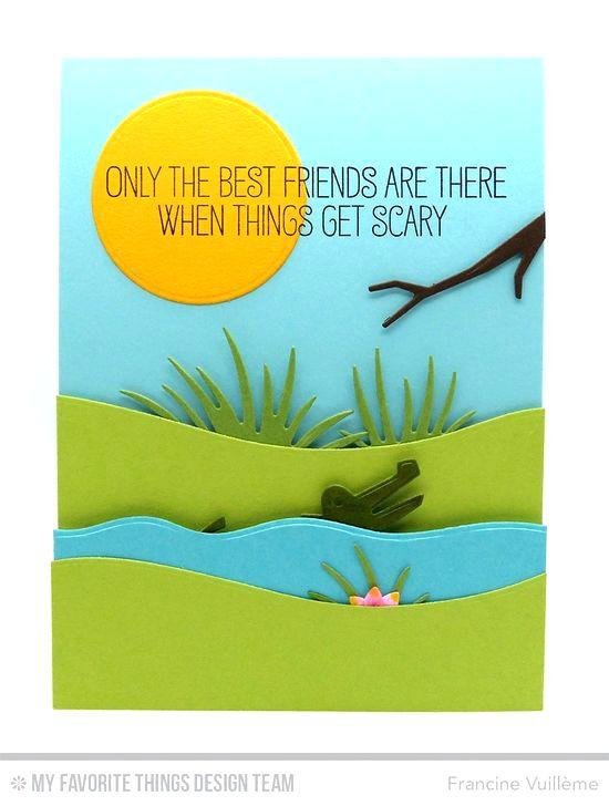 Alligator Friend Card by Francine Vuillème featuring Jungle Friends Card Kit #mftstamps