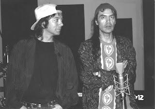 Alan Merrill アラン・メリル and 加部 正義, Kabe Masayoshi recording the Pink Soup album 1996. EGM studio, Tokyo Japan