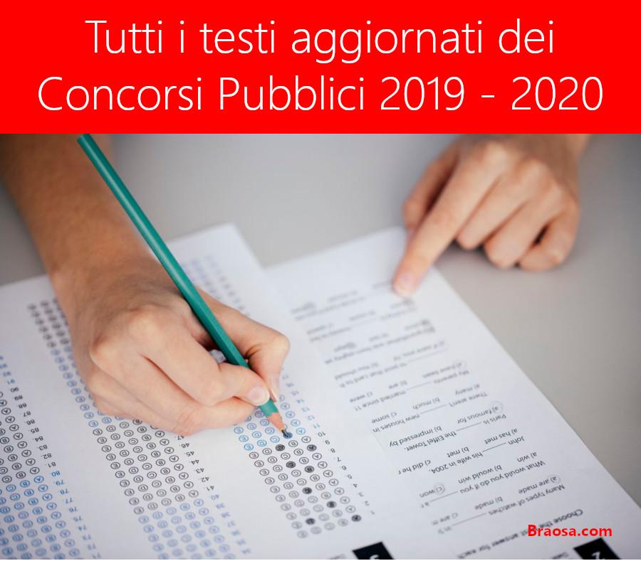 Tutti i testi dei concorsi pubblici 2019 - 2020 di prossima scadenza