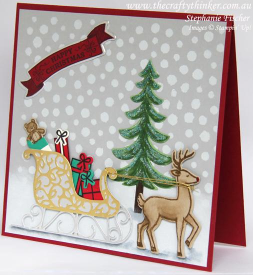 Stampin Up, #thecraftythinker, Xmas Card, Santa's Sleigh, Seasonal Bells, Seasonal Decorative Masks, Stampin Up Australia Demonstrator