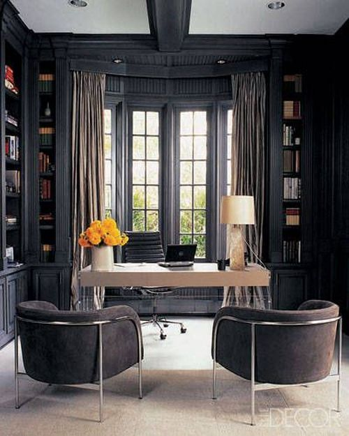 Monique Lhuillier glamorous grey home office