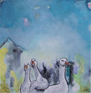 gæs, acryl maleri, moderne kunst, unika kunst, glade farver