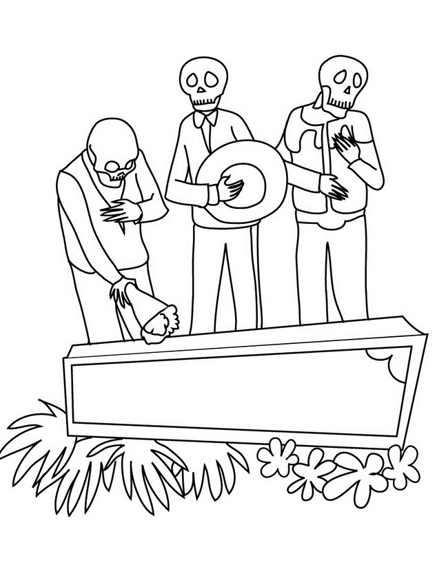 El Dia de Muertos - Dibujos para Colorear. | Ciclo Escolar