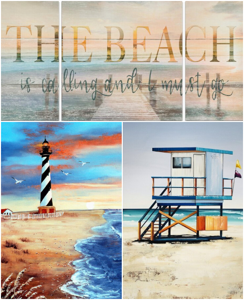 Scenic Colorful Beach Paintings Art Prints