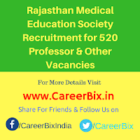 Rajasthan Medical Education Society Recruitment for 520 Professor, Associate, Asst Professor, Sr Demonstator, Sr, Jr Resident Vacancies