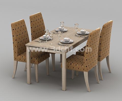 dining set 3d model free