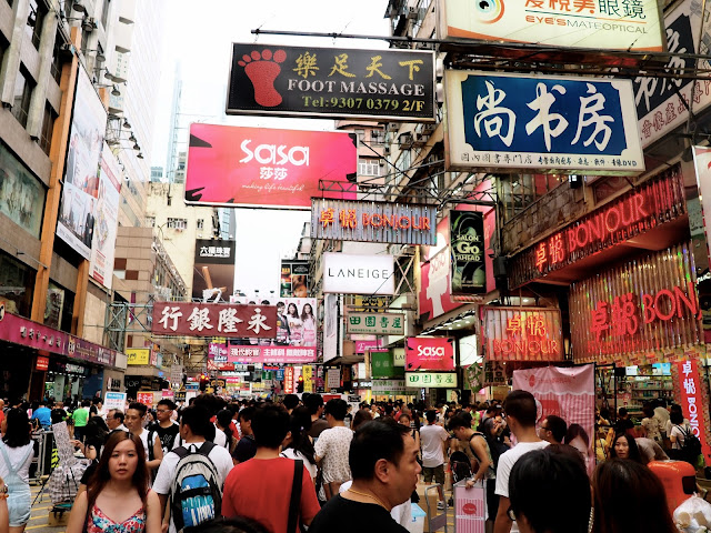 Crowded streets in Mongkok, Kowloon, Hong Kong