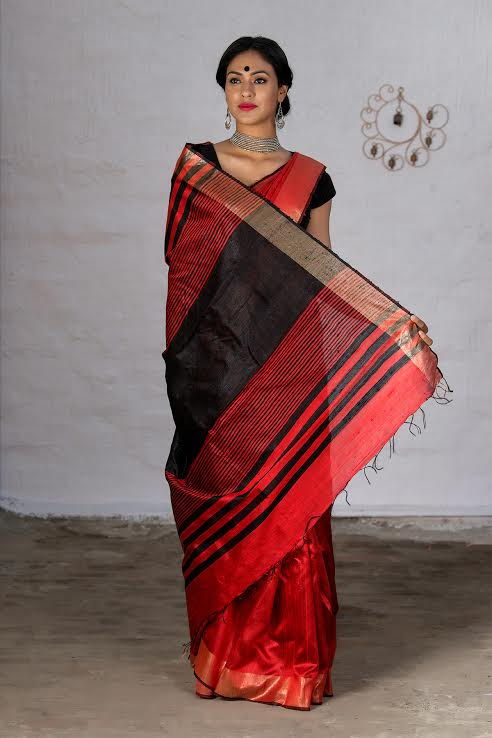 Jute Pallu Pure Raw Silk Saree