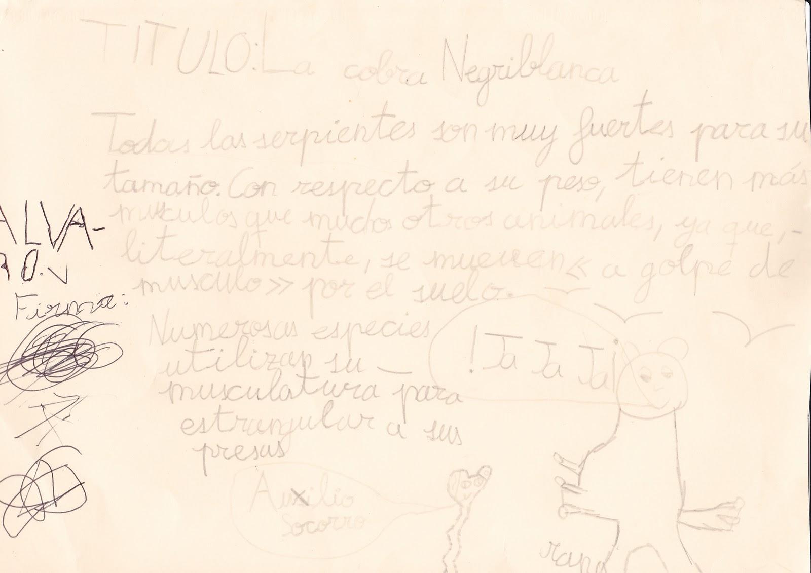 Ceip El Zargal Second Grade La Cobra Negriblanca Alvaro M