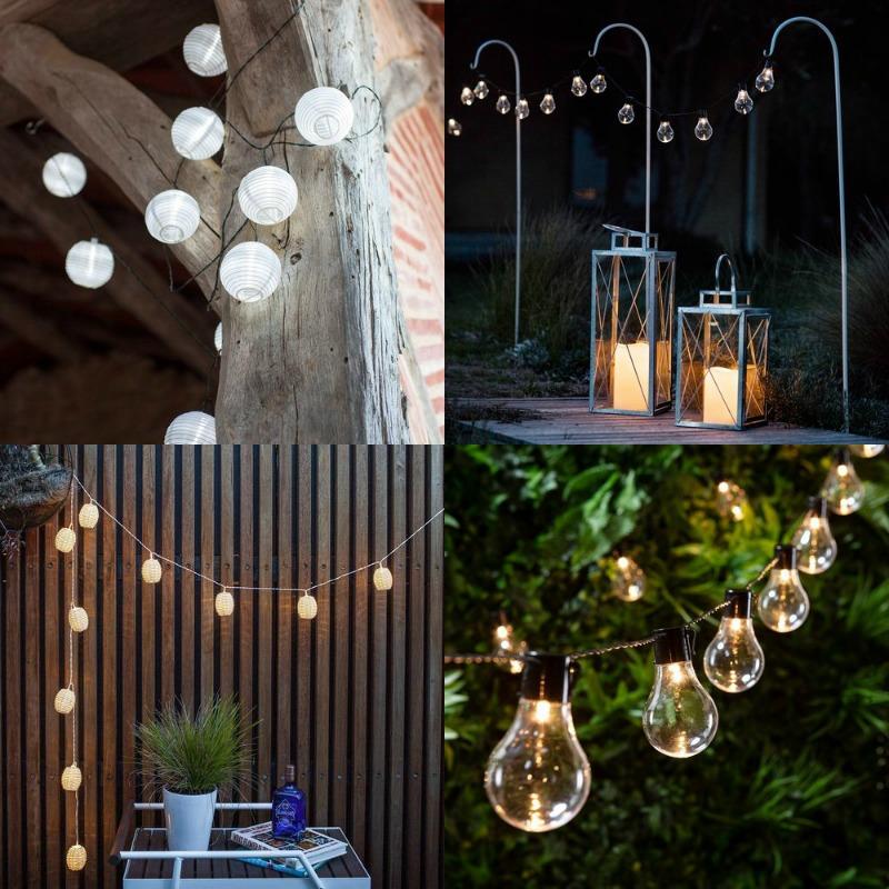 cadena de bombillas y farolillos luz led en jardín