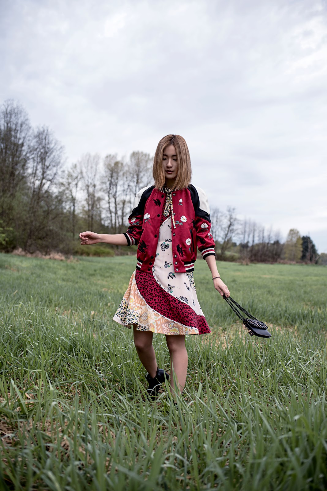 von vogue claire liu coach 1941 spring 2017 runway collection circular patchwork dress shrunken varsity jacket
