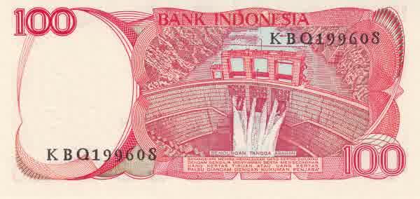 100 rupiah 1985 belakang