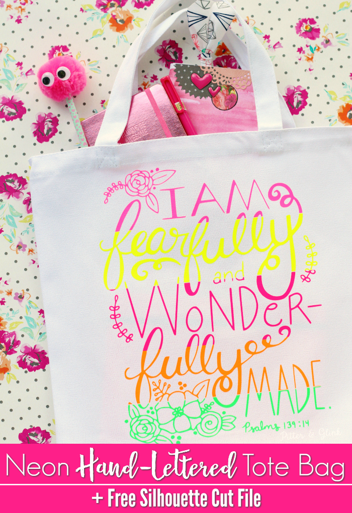 Neon Hand Lettered Bible Verse Tote Bag