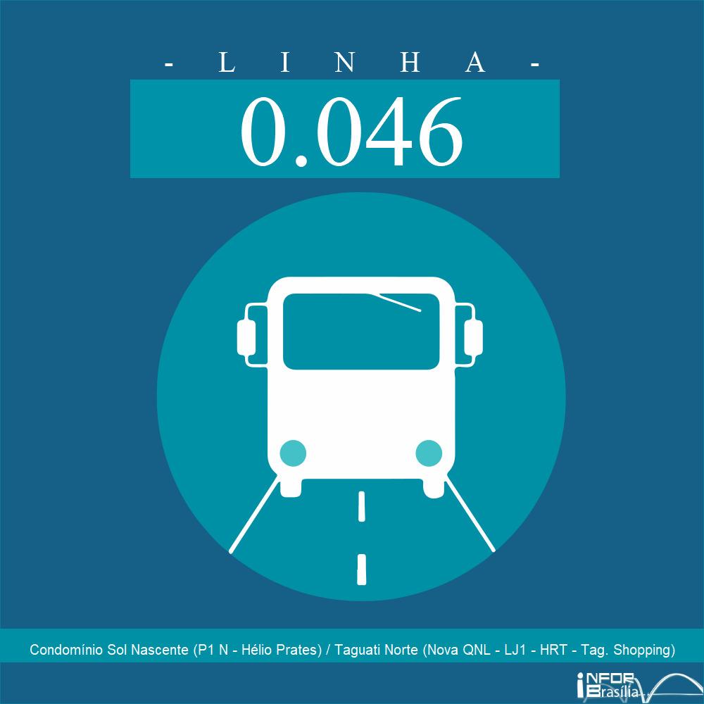 Horário de ônibus e itinerário 0.046 - Condomínio Sol Nascente (P1 N - Hélio Prates) / Taguati Norte (Nova QNL - LJ1 - HRT - Tag. Shopping)