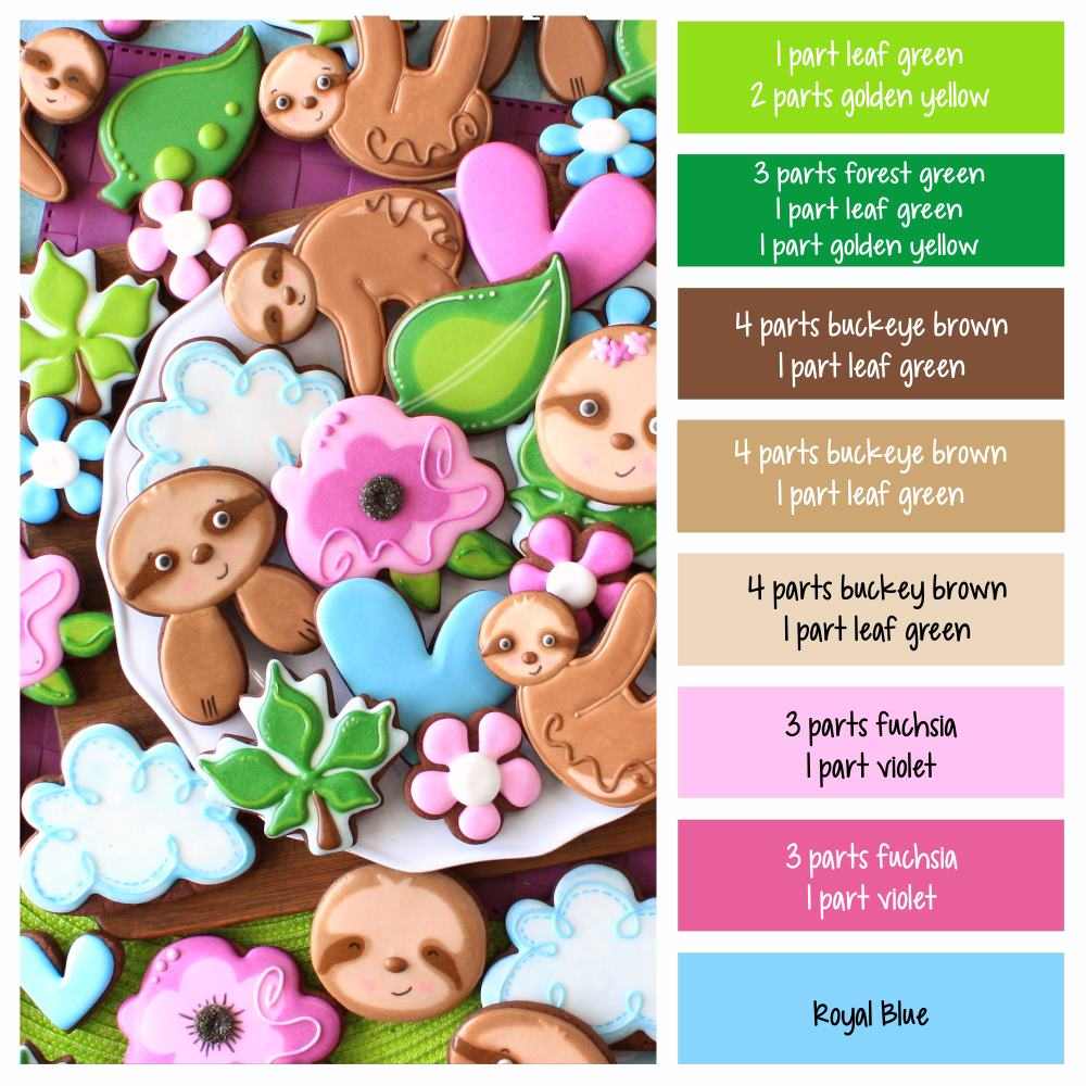 Sloth decorated sugar cookies with icing color palette and color formulas to make them