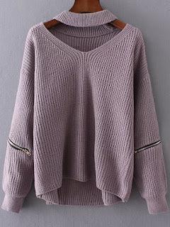 http://es.shein.com/Purple-Choker-V-Neck-Zipper-Detail-Sweater-p-327083-cat-1734.html?aff_id=8741