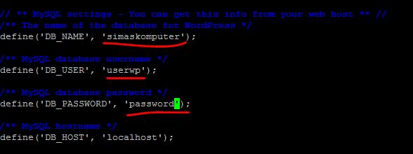 konfigurasi wp-config.php
