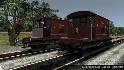 Fastline Simulation - HBA/HEA Coal Hoppers: Two dia 1/506 brake vans from lot 3129 wait for the next duty. Although both from the same lot time has produced some differences with the left hand van losing its vacuum through pipe and becoming unfitted with a variation in livery to reflect this. These vans will be included in our forthcoming HBA/HEA hopper wagon pack for Train Simulator 2013