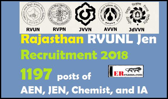 Rajasthan RVUNL Jen Recruitment 2018 Full Detail Notification