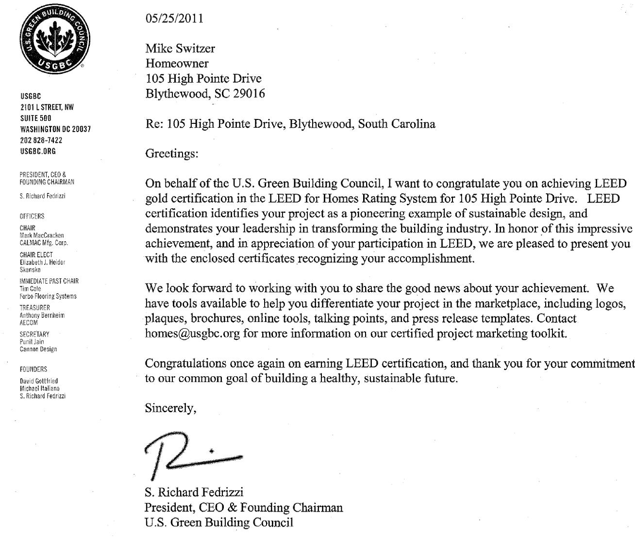 leed letter template - going green