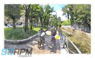 Naviglio della Martesana a Milano, acquerello con due biciclette