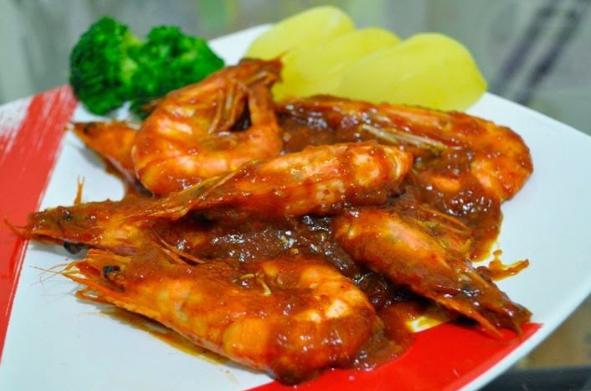 Resep udang saus pedas simple