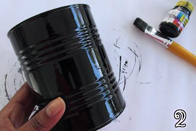 Porta pincéis de maquiagem: lata pintada