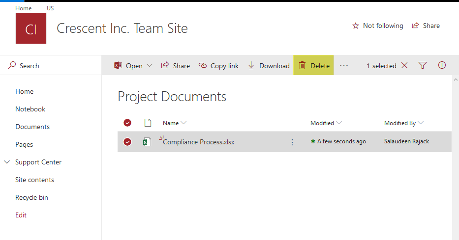 SharePoint Online: How to Delete a File from Document