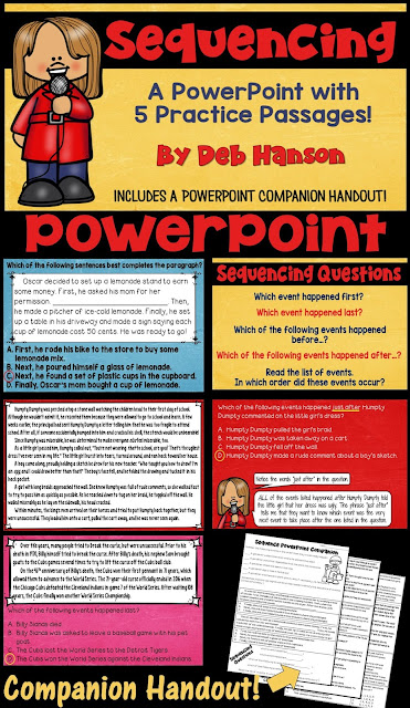 Sequencing PowerPoint for Reading Comprehension- This PowerPoint is great for test prep, as it includes many multiple choice questions.