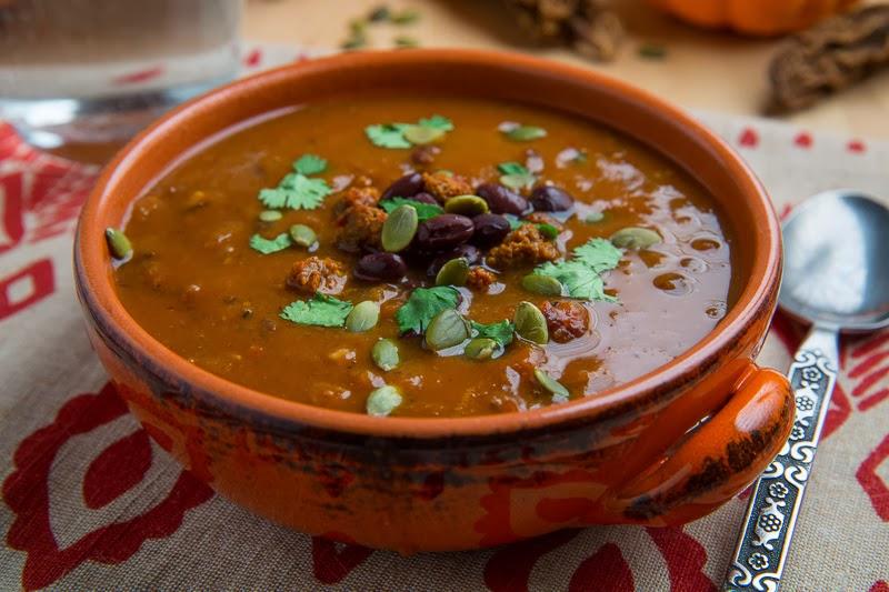 Pumpkin Chorizo and Black Bean Soup