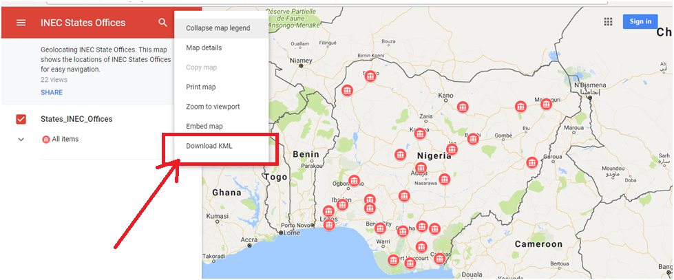 Geospatial solutions expert scrape data from google maps step 3 open this downloaded kml file in any software of your choice to access the data contained there in in my case i used qgis to open the kml file and gumiabroncs Gallery