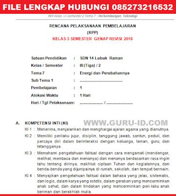 RPP KELAS 3 K13 TEMA 7 REVISI 2018 SEMESTER 2