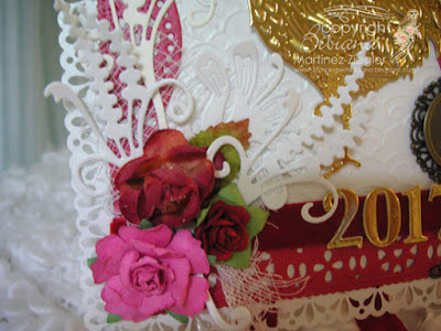 year of the rooster card front door detail flowers