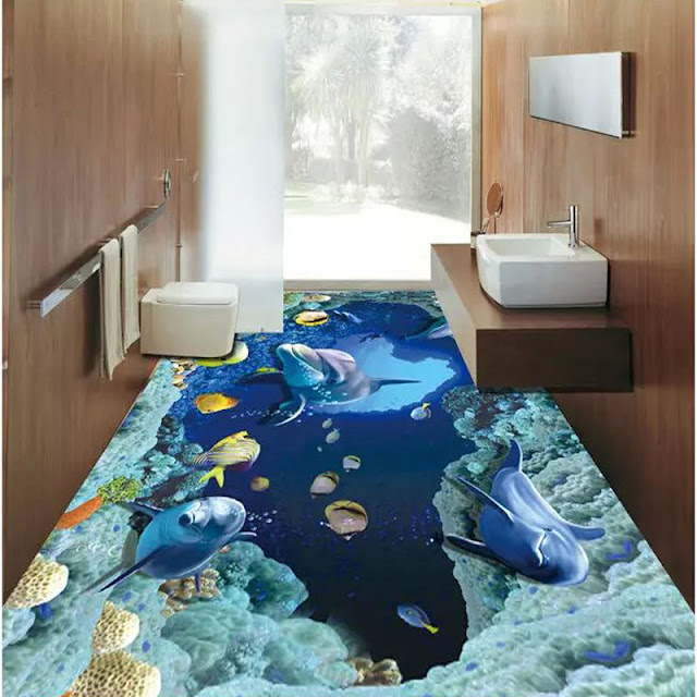3d epoxy dolphin flooring designs for bathrooms
