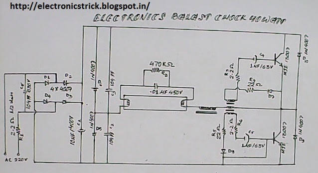 diagram of electronics ballast 13005