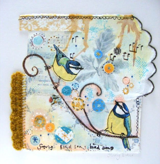 Mixed media, birds, fabric, collage, Jenny Blair