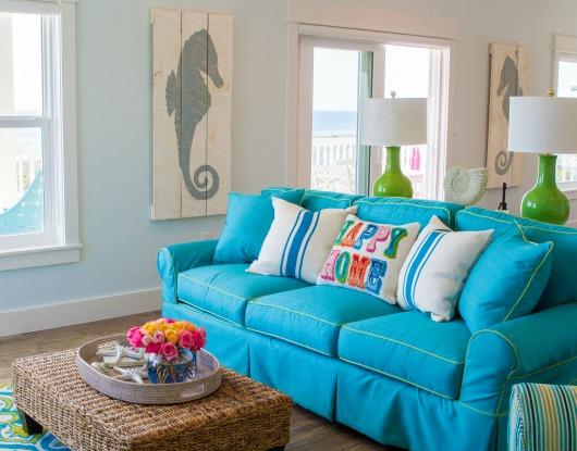 Aqua Blue Sofa